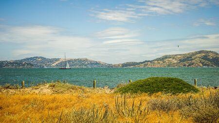 Beach at Presidio Alcatraz Island San Francisco Bay Stock Photo