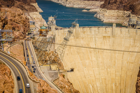 famous industries: Hoover Dam Hydroelectric power station border of Arizona and Nevada USA