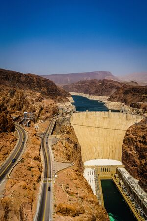 hoover dam: Hoover Dam Hydroelectric power station border of Arizona and Nevada USA