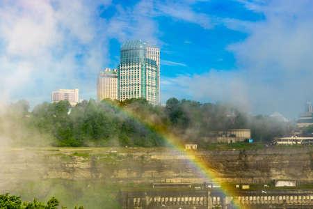 Rainbow to Canada over Niagara River, Niagara Falls, Ontario, Canada Stock Photo