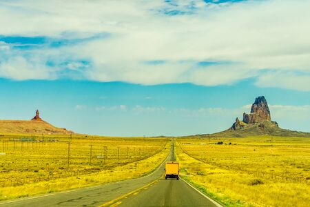 A road leading to Monument Valley