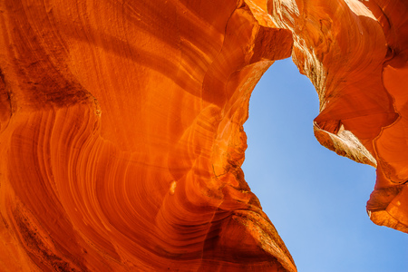 slot canyons: Sandstone formations in Antelope Canyon near the Page,