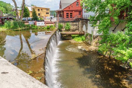 Delaware Canal Towpath and Aquetong Greek, New Hope, PA USA Stock Photo