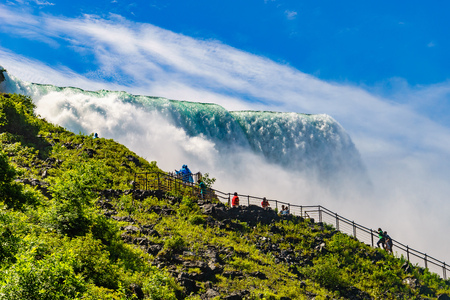 Water rushing over Niagara Falls