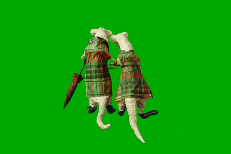 Isolated on green papier-mache a pair of old enamored mice with an umbrella