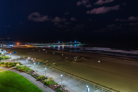 Virginia Beach Fishing Pier and Boardwalk, Virginia Beach at night, Virginia Stock Photo