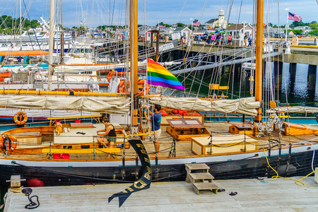 Provincetown, Cape Cod, Massachusetts, US - August 15, 2017 Yacht, ship, boat in marina