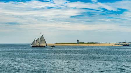 wo-masted yacht and Beautiful landscape of ocean beach Cape cod Massachusetts