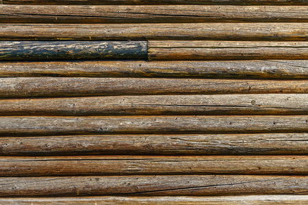 Horizontal old wood background from planed logs.