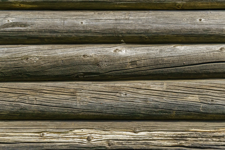 Horizontal wood background from planed logs
