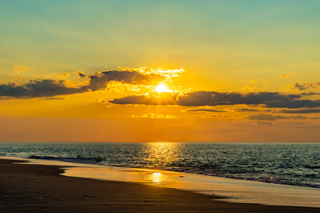 Sunset on the beach on north side of the Provincelands Cape Cod, Atlantic ocean view MA US Stock Photo