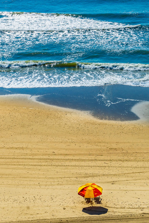 Myrtle Beach beachfront sun umbrella two beach chairs Myrtle Beach South Carolina US