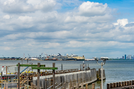 View of the docks of New Jersey from St. George Ferry Terminal Staten Island