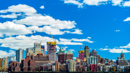 View of Brooklyn from the East River Bikeway in Manhattan, New York. Stock Photo - 120932591
