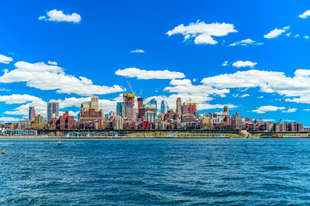 View of Brooklyn from the East River Bikeway in Manhattan, New York. Stock Photo