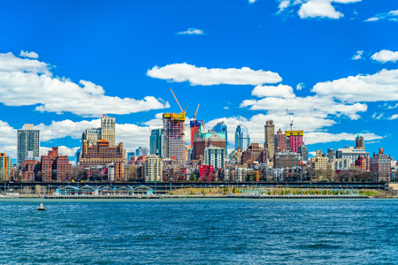 View of Brooklyn from the East River Bikeway in Manhattan, New York US Stock Photo - 120932616