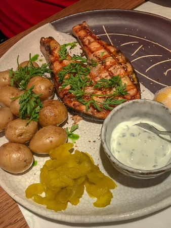 Grilled salmon with small unpeeled boiled potatoes. 免版税图像