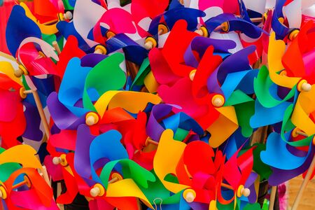 Color rainbow of PVC colored curved plastic. Фото со стока