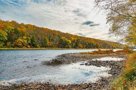 Delaware River near Dingmans Ferry Bridge in the Poconos Mountains, Pennsylvania, USA