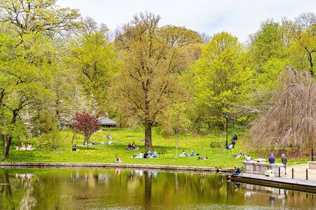 Prospect park, Brooklyn NY May 03, 2020, Brooklyn, New York City. People Keeping Their Social Distance, Because Of The Covid19 Pandemic, Sunday, Prospect Park Boathouse Audubon Center.