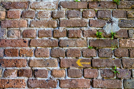 Old brick colored brick masonry whith natural hydraulic cement background textures from Fort Zachary Taylor Fortress. 写真素材
