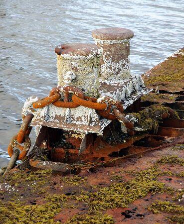 bollard: Old rusty bollard