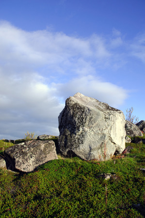 leaden: Granite boulders on the hills of the Kola Peninsula