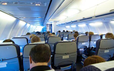 Avión de pasajeros en la cabina Foto de archivo