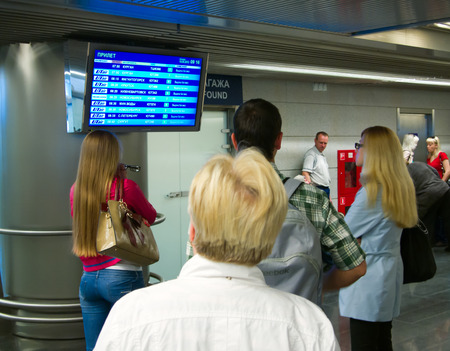 People at the Vnukovo airport arrivals flights