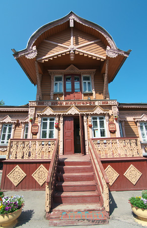 masters: Kaluga, Russia - July 12, 2014, Facade tower club-museum House Masters