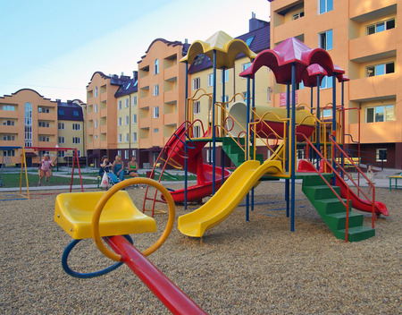 Yartsevo, Russia - July 27, 2014: Childrens playground in the yard of the new house