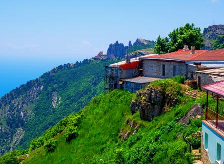 Structures on the edge of the plateau of Mount Ai-Petri Republic of Crimea Stock Photo