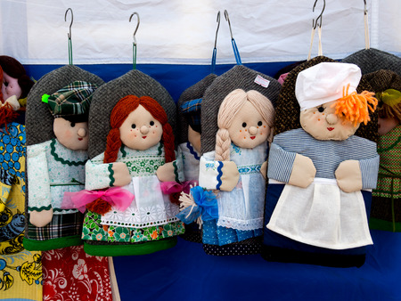 warm things: Murmansk, Russia - March 13, 2016:Potholders hot as the heroes of the Russian people