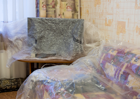 polyethylene film: Furniture, covered with plastic film on the repair time