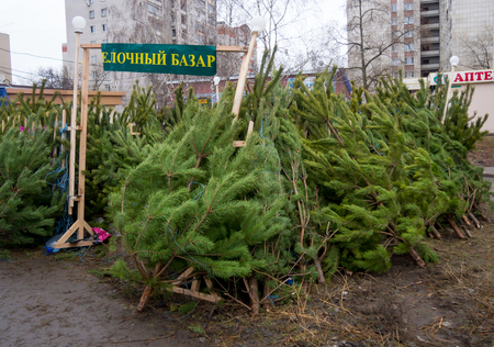 anomalous: Christmas Bazaar in December in an abnormally warm winter in the absence of snow Stock Photo