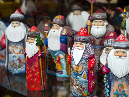 grandfather frost: Moscow, Russia - February 12, 2016: The painted wooden Santa Claus in a souvenir shop of the city Moscow