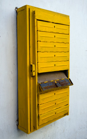 mail slot: The old mailbox for an apartment building