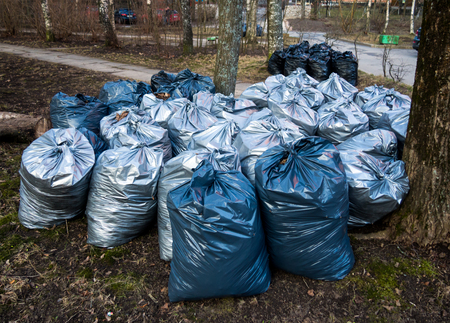 Plastic bags with trash after harvesting in the park Stock Photo