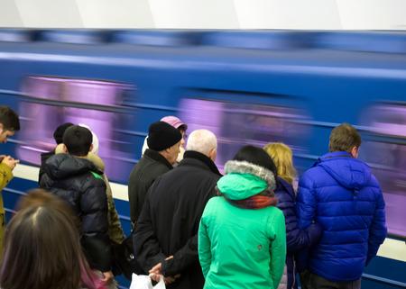 drove: Saint-Petersburg, February 07, 2016: Subway train drove past his waiting passengers