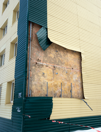 sheathing: The house is torn off part of the plating