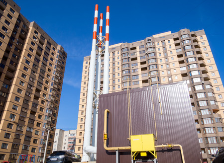 complex system: Voronezh, Russia - April 27, 2017: Autonomous gas boiler room in the courtyard of the new residential complex Editorial