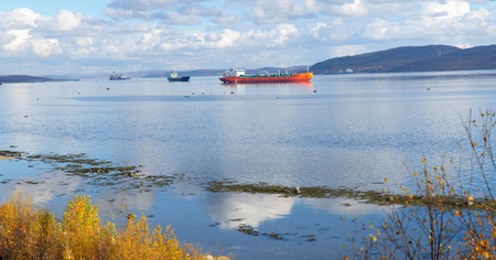 Ships go to the entrance to the Kola Bay to the city of Murmansk