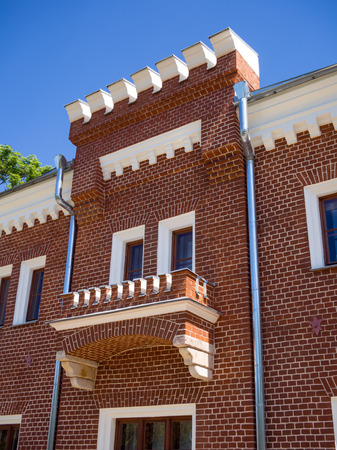 Ramon, Russia - June 07, 2017: Fragment of the building of the Svitsky Corps of the Oldenburg Palace in the village of Ramon, Voronezh Region