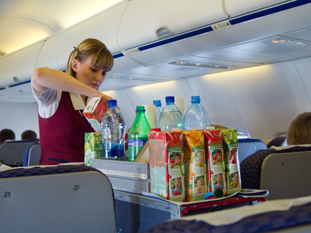 Moscow, Russia - May 14, 2013: Stewardess at work