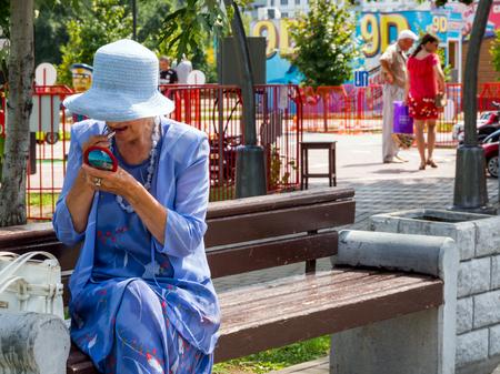 Voronezh, Russia - August 12, 2018: Pensioner