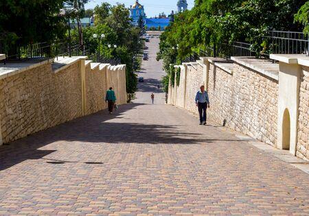 Zadonsk, Russia - August 22, 2018: Pedestrian street