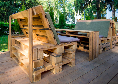 Benches and table made of euro pallets