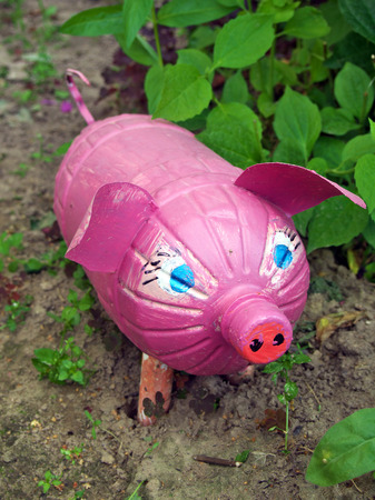 Pink pig made from old plastic bottle