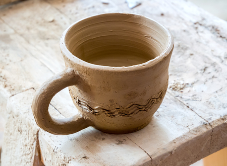 Clay cup, freshly made by master potter