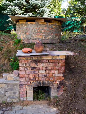 Homemade brick oven for burning pottery in the yard